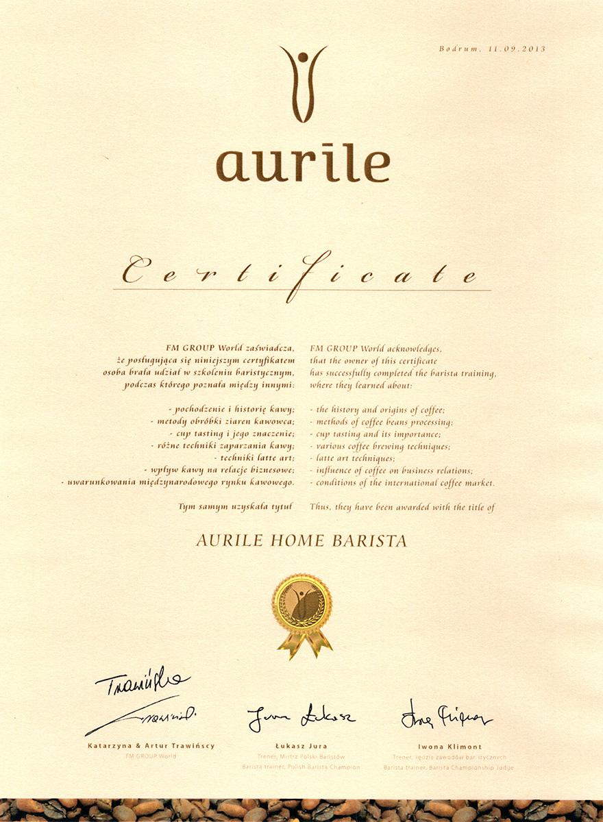Certyfikat Baristy